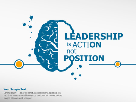 leadership: Inspirational motivational quote on brain background