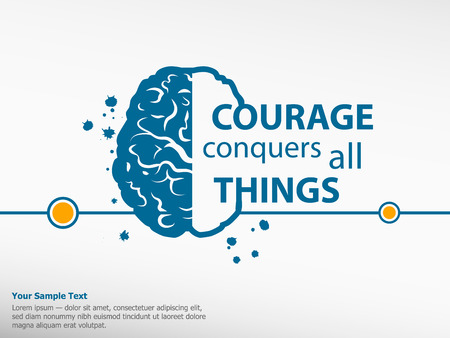 conquers: Inspirational motivational quote on brain background