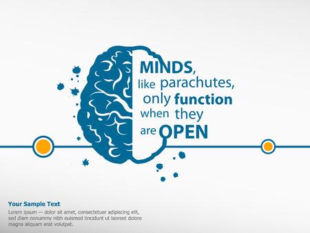 fallschirm: Inspirierend Motivzitat auf Gehirn Hintergrund