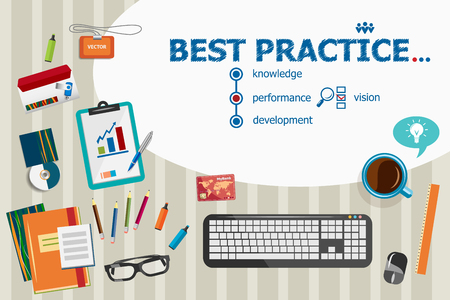 best practice: Best practice and flat design illustration concepts for business analysis, planning, consulting, team work, project management. Best practice concepts for web banner and printed materials.