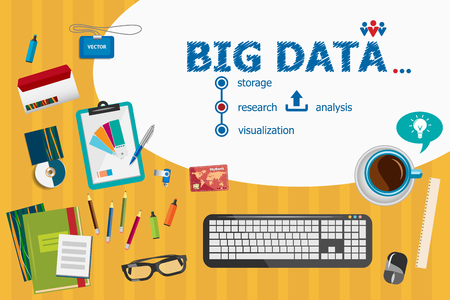 printed work: Big Data and flat design illustration concepts for business analysis, planning, consulting, team work, project management. Big Data concepts for web banner and printed materials.
