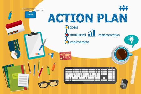 行動計画とフラットは、ビジネス分析、企画、コンサルティング、チームの仕事、プロジェクト管理の概念を図を設計します。Web バナー、印刷物の