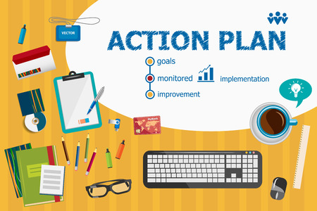 management process: Action plan and flat design illustration concepts for business analysis, planning, consulting, team work, project management. Action plan concepts for web banner and printed materials.