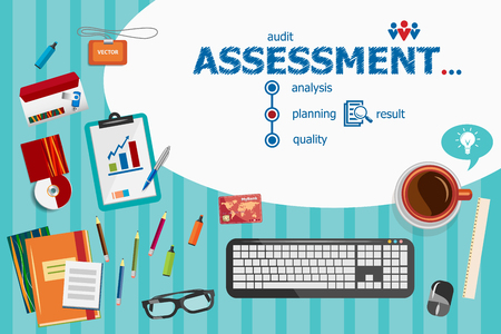 consulting team: Assessment and flat design illustration concepts for business analysis, planning, consulting, team work, project management. Assessment concepts for web banner and printed materials.