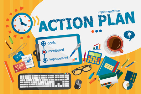 action plan: Action plan concept. Typographic poster. Action plan concepts for web banner and printed materials.