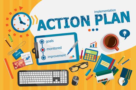 plan de accion: concepto de plan de acci�n. cartel tipogr�fico. conceptos del plan de acci�n para la bandera web y materiales impresos.