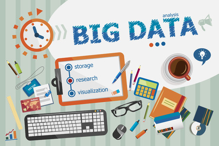 Big Data concept. Typografische poster. Big Data concepten voor web banner en drukwerk. Stock Illustratie