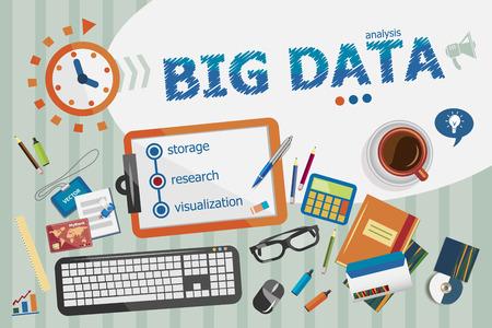 the big: concepto de Big Data. cartel tipográfico. conceptos de datos grandes para banner web y materiales impresos.