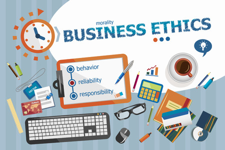 business ethics: Business Ethics design concept. Typographic poster. Business Ethics concepts for web banner and printed materials.