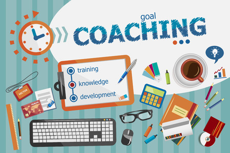coach: Coaching design concept. Typographic poster. Coaching concepts for web banner and printed materials.