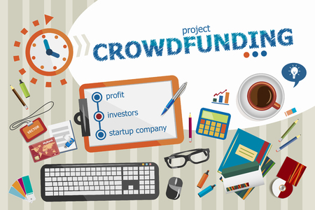 Crowdfunding design concept. Typographic poster. Crowdfunding concepts for web banner and printed materials. Vector Illustration