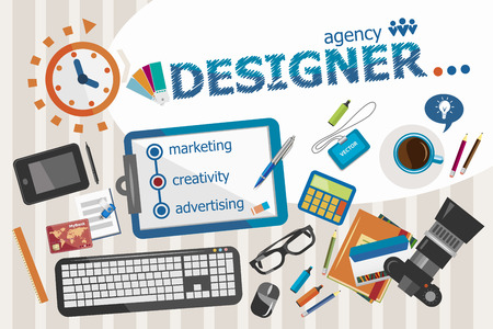 webdesigner: Designer design concept. Typographic poster. Designer concepts for web banner and printed materials. Illustration
