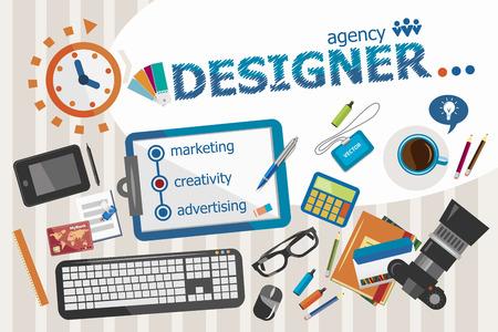 webdesigner: Designer design concept. Typographic poster. Designer concepts for web banner and printed materials. Illustration
