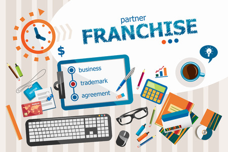 opportunity concept: Franchise design concept. Typographic poster. Franchise concepts for web banner and printed materials. Illustration