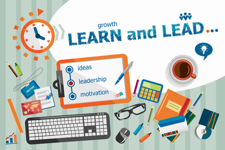 Learn and Lead design concept. Typographic poster. Learn and Lead concepts for web banner and printed materials. Banco de Imagens - 52180658