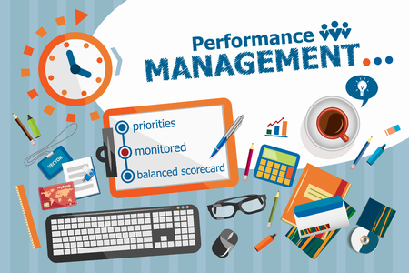 priorities: Performance management design concept. Typographic poster. Performance management concepts for web banner and printed materials.