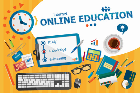 Online education design concept. Typographic poster. Online education concepts for web banner and printed materials.