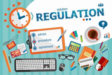 regulation: Regulation design concept. Typographic poster. Regulation concepts for web banner and printed materials. Illustration