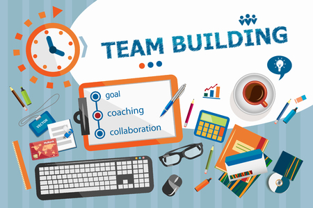 Team Building design concept. Typographic poster. Team Building concepts for web and printed materials. Illustration