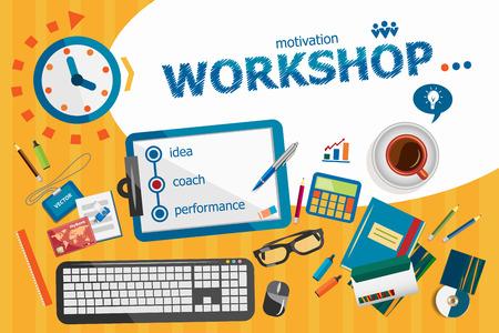 liderazgo empresarial: concepto de taller. cartel tipográfico. conceptos del taller para la web y materiales impresos.