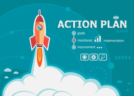 Actieplan en concept achtergrond met raket. Project Actieplan concepten voor web en drukwerk.