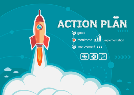 action plan: Action plan and concept background with rocket. Project Action plan concepts for web and printed materials. Illustration