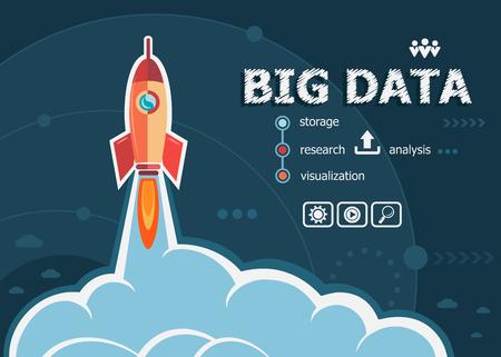 concepto de datos grande en el fondo con el cohete. conceptos Proyecto Big Data para la web y materiales impresos.