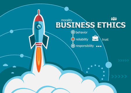 business value: Business Ethics and concept background with rocket. Business Ethics concepts for web and printed materials.