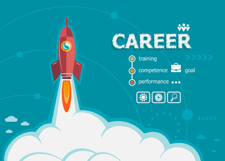 Career design and concept background with rocket. Career design concepts for web and printed materials. Illustration