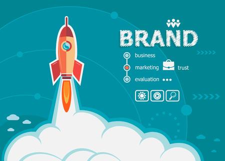 gestion: diseño de la marca y el concepto de fondo con el cohete. conceptos de marca para la web y materiales impresos.