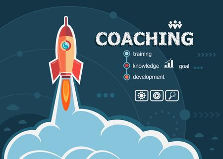 Coaching vormgeving en concept achtergrond met raket. Coaching concepten voor web en drukwerk. Stockfoto - 53648869