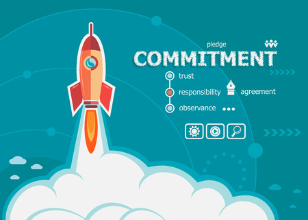 commitment: Commitment design and concept background with rocket. Commitment concepts for web and printed materials. Illustration