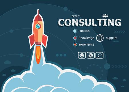 Consultation conception et le concept de fond avec la fusée. Consultation des concepts de design pour le web et les documents imprimés. Vecteurs