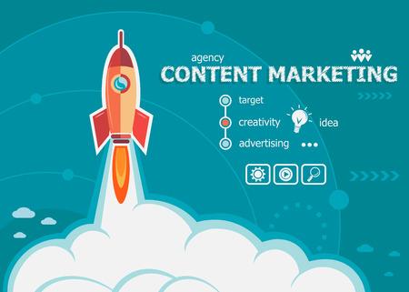 diseño de la comercialización de contenidos y el concepto de fondo con el cohete. conceptos de marketing de contenidos para la web y materiales impresos.