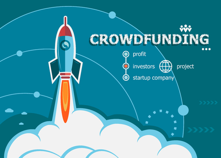 resources: Crowdfunding design and concept background with rocket. Crowdfunding concepts for web and printed materials. Illustration