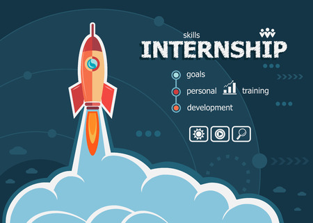 Internship design and concept background with rocket. Project Action plan concepts for web banner and printed materials.