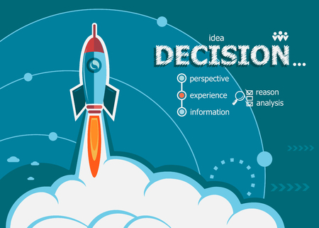 depend: Decision design and concept background with rocket. Decision concepts for web banner and printed materials.