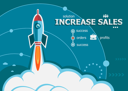 Increase sales design and concept background with rocket. Project Action plan concepts for web banner and printed materials.