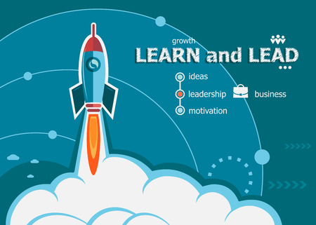 action plan: Learn and Lead and concept background with rocket. Project Action plan concepts for web banner and printed materials.