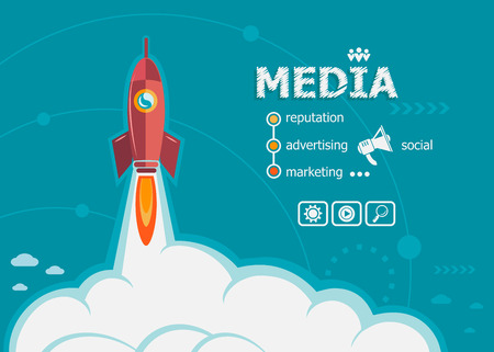 weblog: Media and concept background with rocket. Project Action plan concepts for web banner and printed materials.