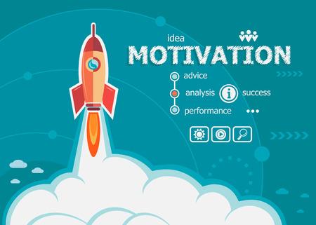 concept: Motivatie design en concept achtergrond met raket. Project Motivatie concepten voor web banner en drukwerk.
