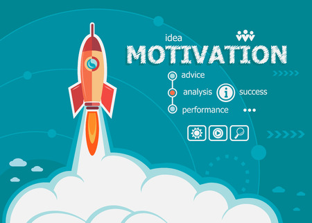 Motivation Design und Konzept Hintergrund mit Rakete. Projekt Motivation Konzepte für Web-Banner und gedruckte Materialien.