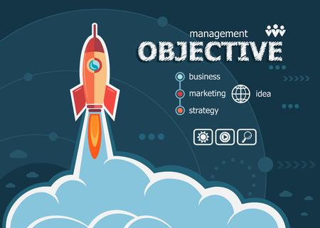 Objective and concept background with rocket. Project Objective concepts for web banner and printed materials.