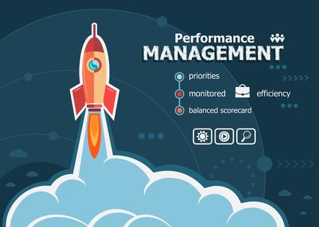 diseño de la gestión del rendimiento y el concepto de fondo con el cohete. conceptos de gestión de rendimiento de los proyectos para la bandera web y materiales impresos. Ilustración de vector