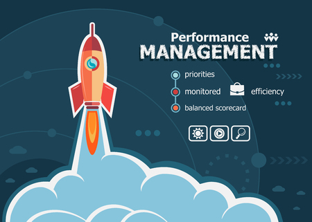 measured: Performance management design and concept background with rocket. Project Performance management concepts for web banner and printed materials.