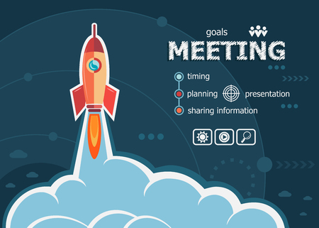 career timing: Business meeting and concept background with rocket. Project Business meeting  concepts for web banner and printed materials.