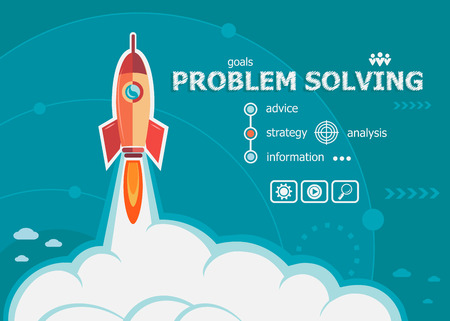 Problem-solving design and concept background with rocket. Project Problem-solving concepts for web banner and printed materials. Imagens - 55717983