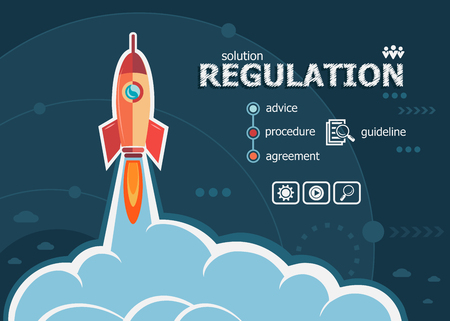 guideline: Regulation and concept background with rocket. Project Regulation concepts for web banner and printed materials.