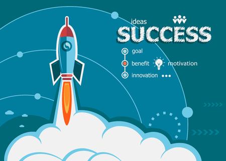 Erfolg und Konzept-Hintergrund mit Raketen. Projekt-Erfolgskonzepte für Web-Banner und gedruckte Materialien.