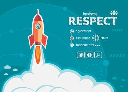 Respect and concept background with rocket. Project Respect concepts for web banner and printed materials.